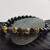 Украшения handmade. Livemaster - original item Men`s black and gold bracelet made of agate, lava and shungite.. Handmade.