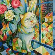 Картины ручной работы. Ярмарка Мастеров - ручная работа Пушистый,серый,домовитый ( Кот.Любимый кот ). Handmade.