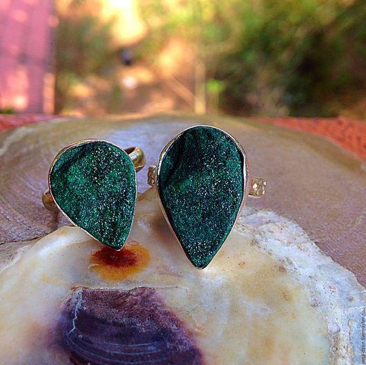 """Кольца ручной работы. Ярмарка Мастеров - ручная работа. Купить Кольцо """"Друза малахита"""". Handmade. Тёмно-зелёный, кольцо с друзой"""