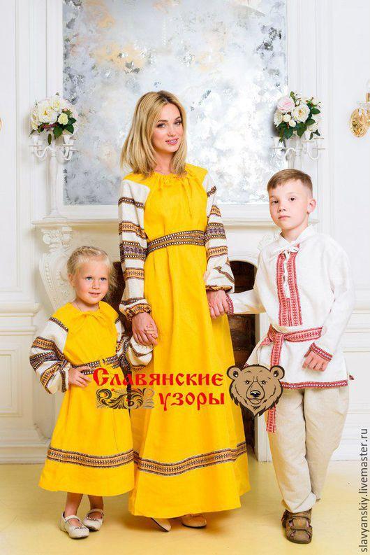 """Этническая одежда ручной работы. Ярмарка Мастеров - ручная работа. Купить Платье """"Солнышко"""". Handmade. Желтый, familylook, для детей, летнее"""
