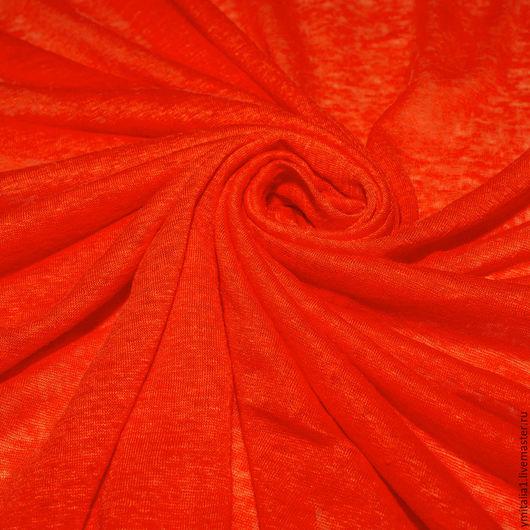 Шитье ручной работы. Ярмарка Мастеров - ручная работа. Купить Трикотаж льняной  120% LINEN оранжевый. Handmade. Трикотаж