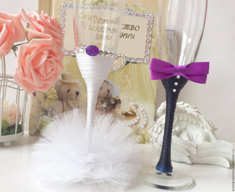 Свадебные бокалы своими руками фото пошагово жених невеста 18