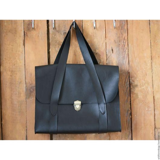 Женские сумки ручной работы. Ярмарка Мастеров - ручная работа. Купить Кожаная сумка ручной работы. Handmade. Черный, сумка