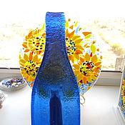 Посуда ручной работы. Ярмарка Мастеров - ручная работа бутылка плоская Синяя. Handmade.