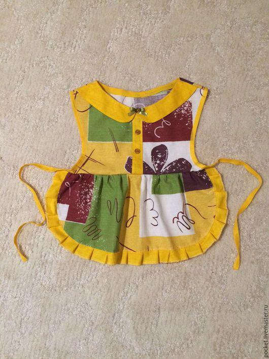 Одежда для девочек, ручной работы. Ярмарка Мастеров - ручная работа. Купить Фартук. Handmade. Желтый, в клеточку, фартук, детская, одежда