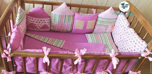 Текстиль, ковры ручной работы. Ярмарка Мастеров - ручная работа. Купить Бортики-подушки в кроватку. Handmade. Розовый, постельное белье