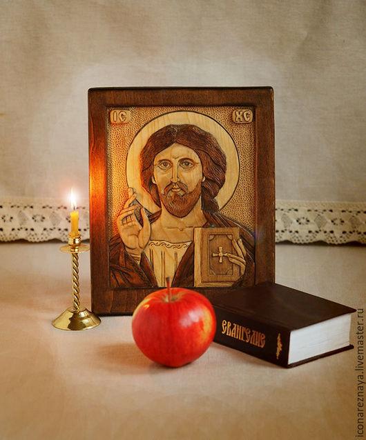 `Спас Вседержитель ` резная объемная икона из дерева