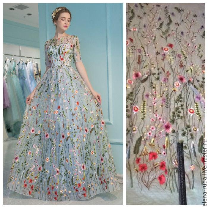 Платье с вышивкой на сетке 33