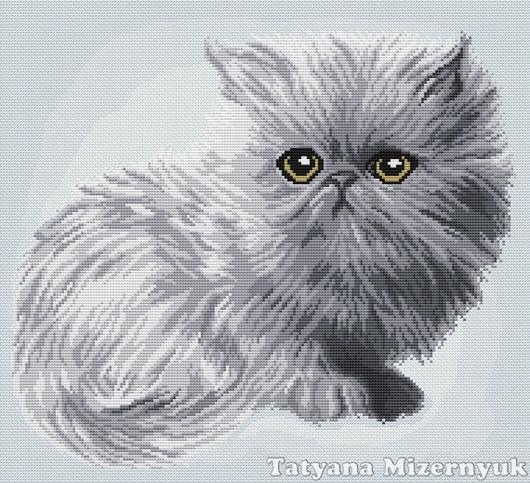 """Вышивка ручной работы. Ярмарка Мастеров - ручная работа. Купить Схема вышивки крестом """"Серый котёнок"""". Handmade."""