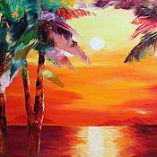 Картины и панно handmade. Livemaster - original item Oil painting on canvas Sunset on the sea 40/50 cm.. Handmade.