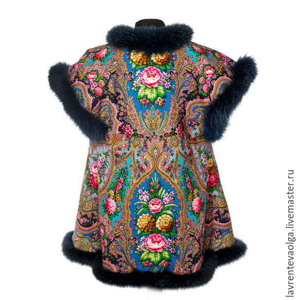 A top of pavloposad scarf 'Almond' with blue Fox fur, Vests, Moscow,  Фото №1