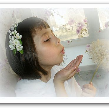 Свадебный салон ручной работы. Ярмарка Мастеров - ручная работа Ободок венок Весенние цветы яблоня и белые ландыши Холодный фарфор. Handmade.