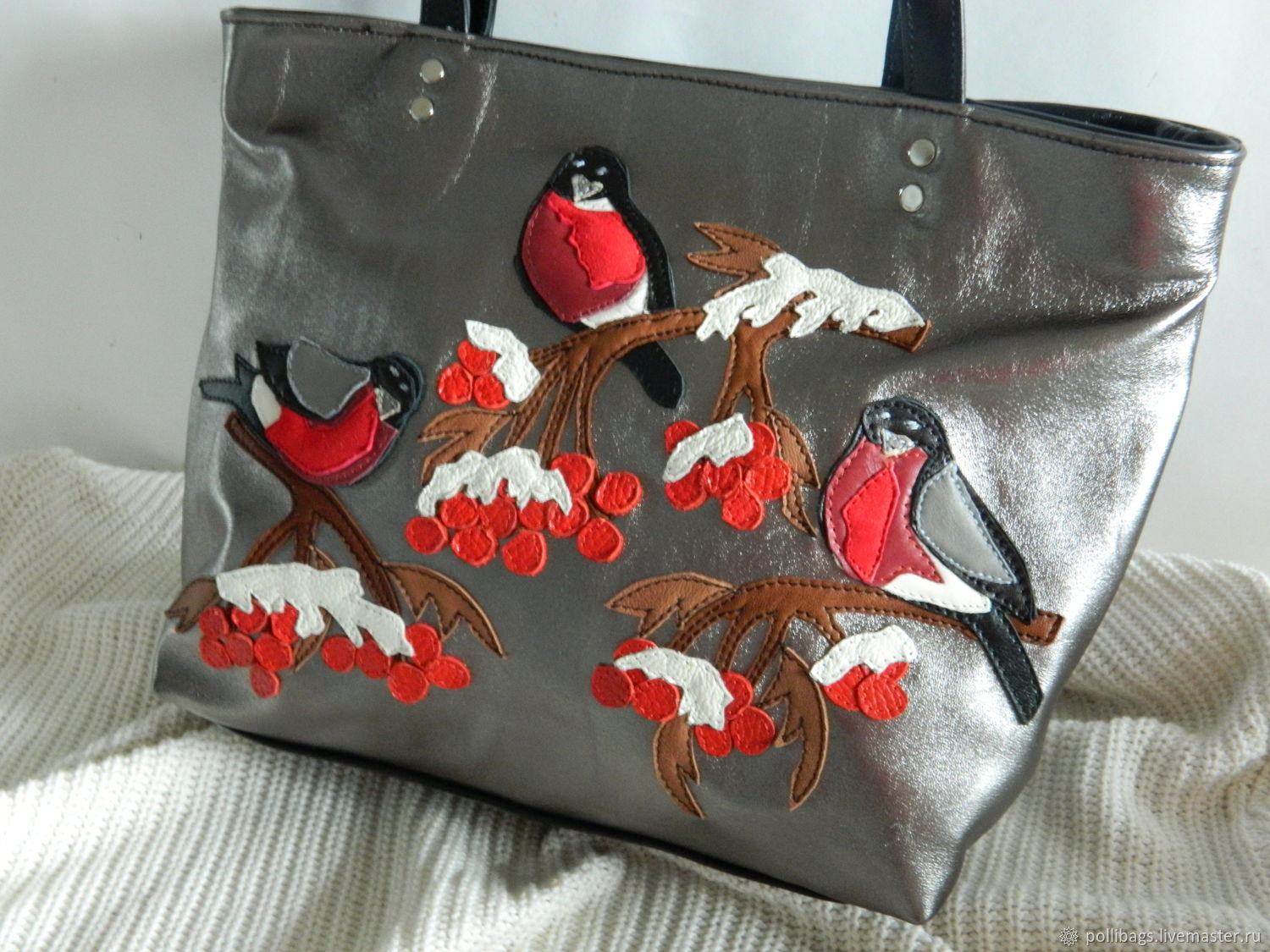 Leather bag shopper bag with applique hearts and a silver u shop