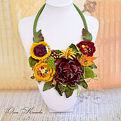 Украшения handmade. Livemaster - original item Boho necklace, Autumn rose Marsala and mustard. Handmade.