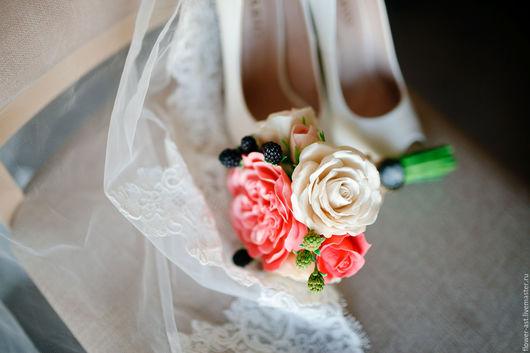 Свадебные цветы ручной работы. Ярмарка Мастеров - ручная работа. Купить Букет для прекрасной невесты из полимерной глины. Handmade.