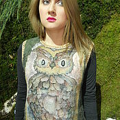 "Одежда handmade. Livemaster - original item Wool felted tunic""Owl in night forest"". Handmade."