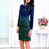 Одежда ручной работы. Ярмарка Мастеров - ручная работа Платье синее теплое с зеленым узором узором. Handmade.