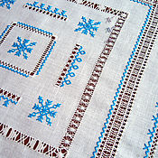 Для дома и интерьера handmade. Livemaster - original item Napkin 5 stars linen blue hand stitch embroidery merezhki. Handmade.