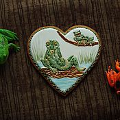"""Сувениры и подарки ручной работы. Ярмарка Мастеров - ручная работа Пряничное сердце """"Влюбленные"""". Handmade."""