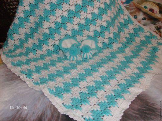 Пледы и одеяла ручной работы. Ярмарка Мастеров - ручная работа. Купить детский плед. Handmade. Белый, с голубым для мальчика