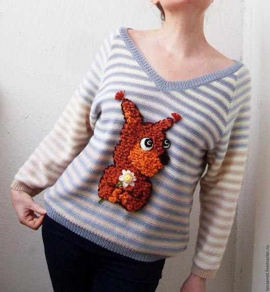 Кофты и свитера ручной работы. Ярмарка Мастеров - ручная работа. Купить Полосатый пуловер с бельчонком. Handmade. Пуловер вязаный, для девочки