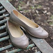 Обувь ручной работы handmade. Livemaster - original item Ballet shoes made of genuine leather with perforated Beige. Handmade.