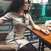 Одежда handmade. Livemaster - original item Suede dress with lacing. Handmade.
