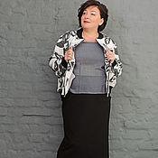Одежда handmade. Livemaster - original item Bomber jacket white with black flowers. Art. 0975. Handmade.