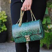 Сумки и аксессуары handmade. Livemaster - original item Emerald Python skin bag. Handmade.