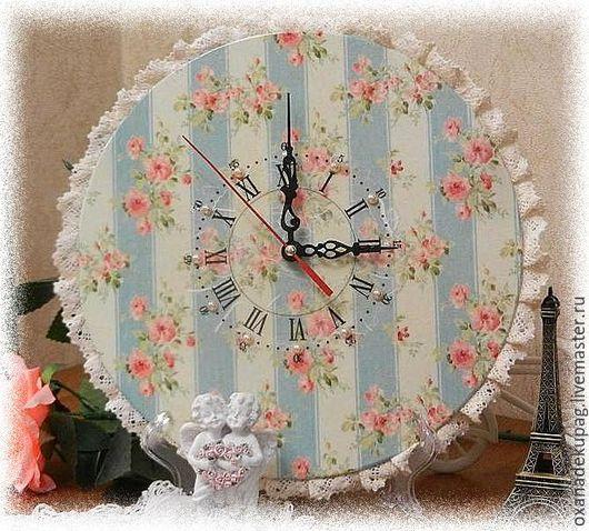 """Часы для дома ручной работы. Ярмарка Мастеров - ручная работа. Купить Часы настенные """"Нежный шебби"""". Handmade. Часы настенные"""