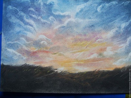 Пейзаж ручной работы. Ярмарка Мастеров - ручная работа. Купить пастельные пейзажи Sunset, А4. Handmade. Голубой, закат, пастель