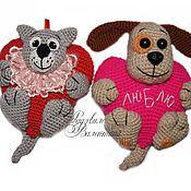 Куклы и игрушки ручной работы. Ярмарка Мастеров - ручная работа Кот и Пёсик с сердечком. Handmade.