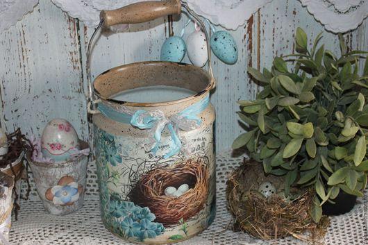 Вазы ручной работы. Ярмарка Мастеров - ручная работа. Купить Бидон-ваза. Handmade. Голубой, ваза для цветов, пасхальный подарок