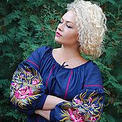 "Одежда handmade. Livemaster - original item Embroidered dress ""Floral evening"" handmade embroidery. Handmade."