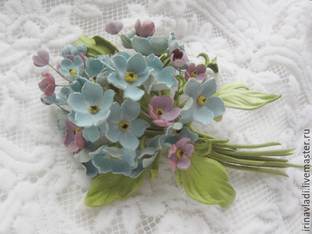 Leather goods.Decoration brooch bouquet flower BLUE forget-me-nots ...