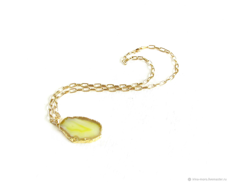 Yellow agate pendant 'Mood'pendant on chain, Pendants, Moscow,  Фото №1