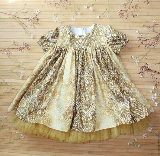 Одежда для девочек, ручной работы. Ярмарка Мастеров - ручная работа. Купить Золотое платье для девочки. Handmade. Золотой, платье на заказ