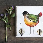 Для дома и интерьера ручной работы. Ярмарка Мастеров - ручная работа Вешалка-ключница Оранжево-зеленая птица. Handmade.