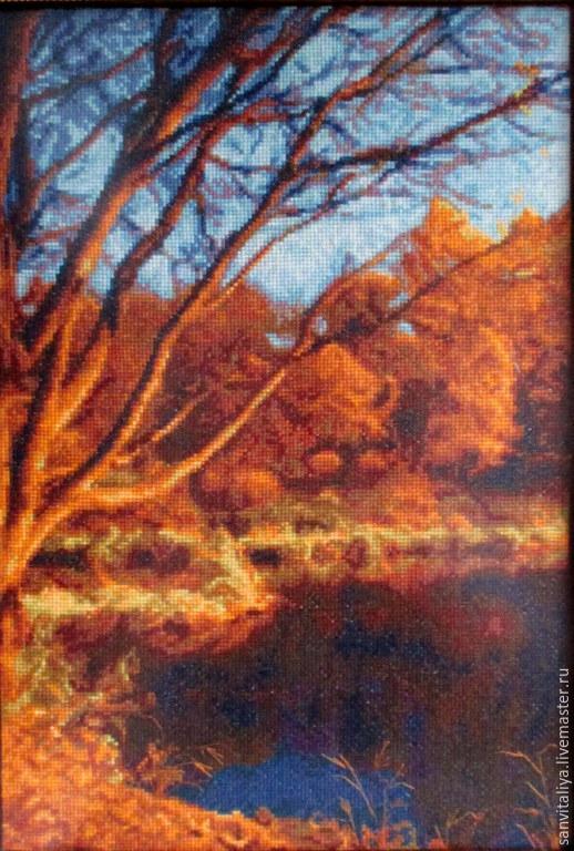 """Пейзаж ручной работы. Ярмарка Мастеров - ручная работа. Купить Картина """"Осень"""" (ручная вышивка крестом - хлопок). Handmade. Вышивка"""