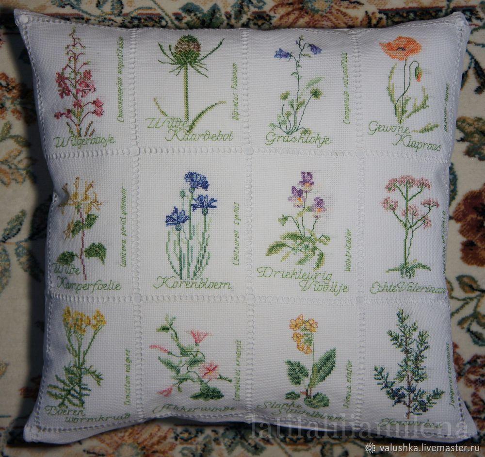"""Вышитая подушка с цветами """"Ботаника"""", Подушки, Пограничный,  Фото №1"""