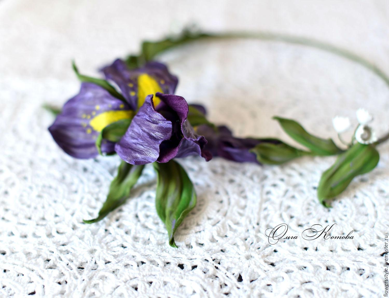 Flower Necklace Leather Necklace Purple Irises Flowers Shop Online
