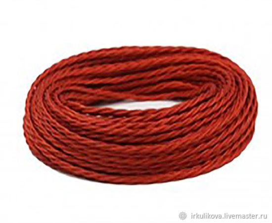 Провод витой для наружной проводки 2х0,75 красный шелк, Дизайн, Москва,  Фото №1