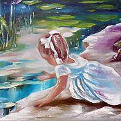 """Картины и панно ручной работы. Ярмарка Мастеров - ручная работа Картина маслом """"У пруда"""",50х60 (девочка, ребенок). Handmade."""