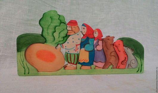 Сказочные персонажи ручной работы. Ярмарка Мастеров - ручная работа. Купить Пазл Репка. Handmade. Репка, береза, обучающая игра