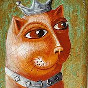 """Картины и панно ручной работы. Ярмарка Мастеров - ручная работа Панно на дереве  """"Кот Ричард"""". Handmade."""