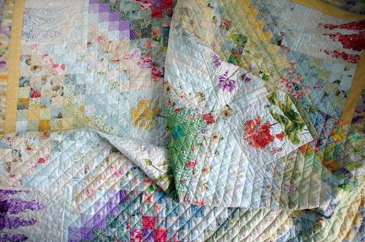 Текстиль, ковры ручной работы. Ярмарка Мастеров - ручная работа. Купить Лоскутное покрывало Цветочный луг. Handmade. Батик