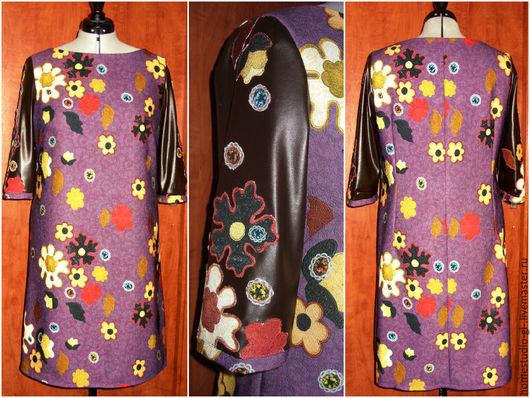 Большие размеры ручной работы. Ярмарка Мастеров - ручная работа. Купить Платье А-силуэта с рукавами под кожу.(2). Handmade.