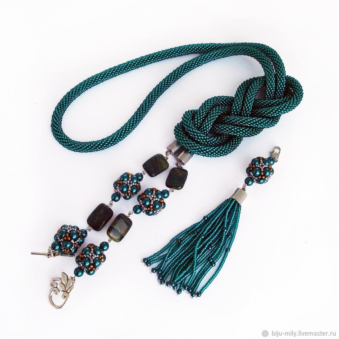 Lariat of emerald beads with chrysotile and hand-woven beads, Lariats, Abakan,  Фото №1