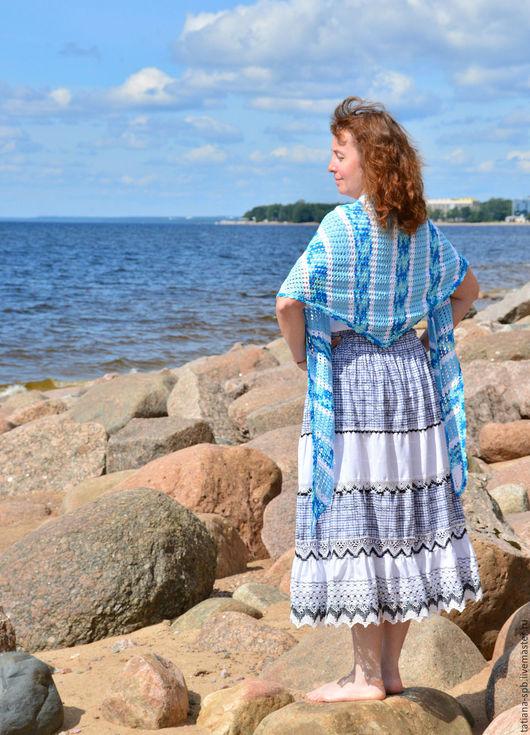 летняя шаль, парео, шаль из хлопка, хлопковая шаль, ажурная шаль, шаль крючком, шаль на лето, накидка на плечи, ажурная накидка, накидка для пляжа, косынка вязаная, бактус, накидка вязаная, синяя шаль