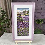 handmade. Livemaster - original item Picture cross stitch Lavender fields, cross stitch. Handmade.